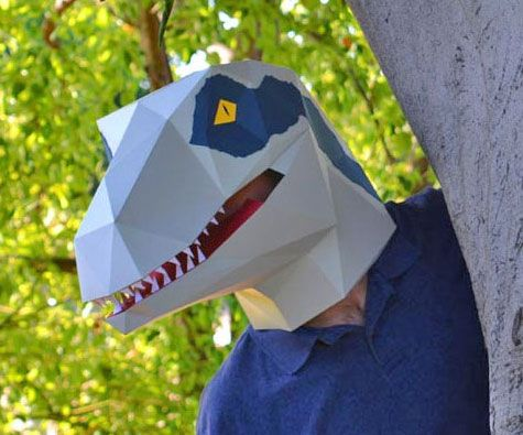 DIY Velociraptor Paper Mask Paper mask, Masking and Costumes - slip template