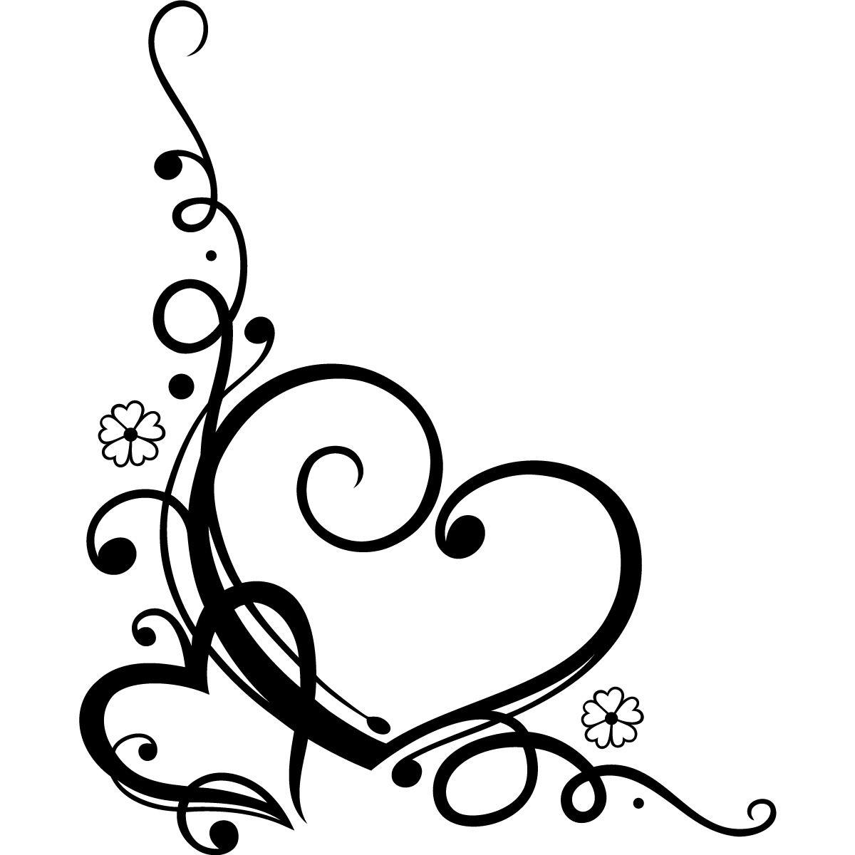 Decorative Love Heart Floral Wall Art Sticker Wall Decal Transfers