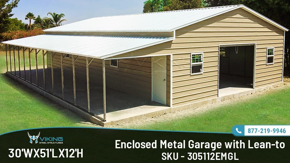 30x51x12 Enclosed Metal Garage with Leanto Metal