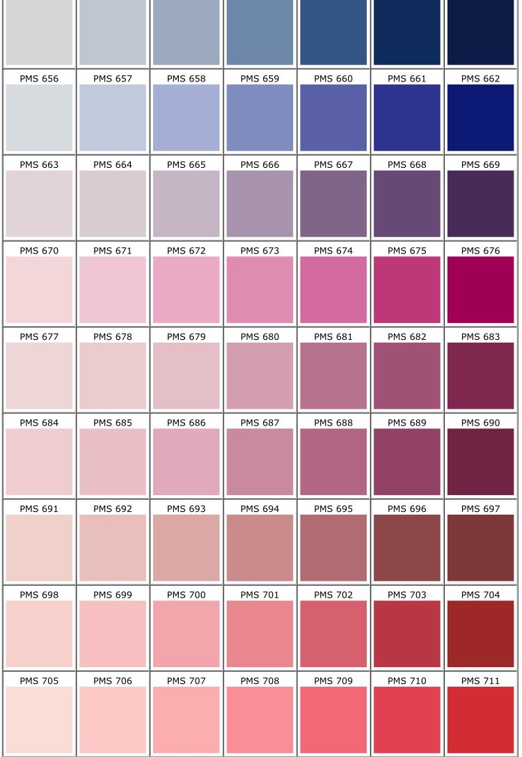 Pantone Color Chart  Palettes    Pantone Color Chart