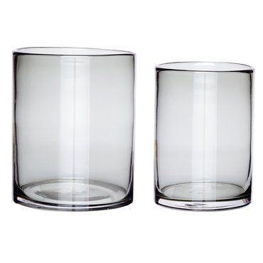 Vase / Windlicht, 2er-Set Set aus zwei grauen Vasen / Windlichtern