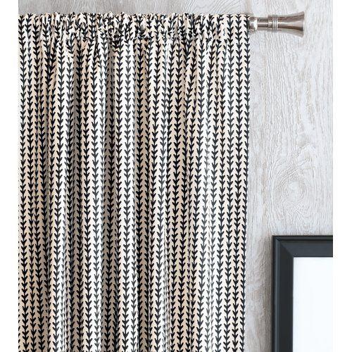 Bowie Chevron Rod Pocket Single Curtain Panel Dining