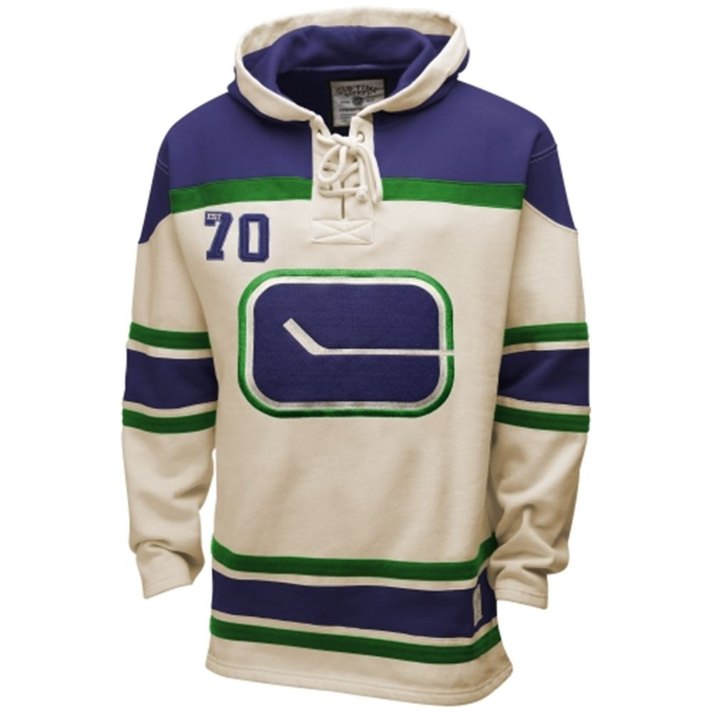f288974e591 Old Time Hockey Vancouver Canucks Lace Jersey Team Pullover Hoodie -  Natural Navy Blue