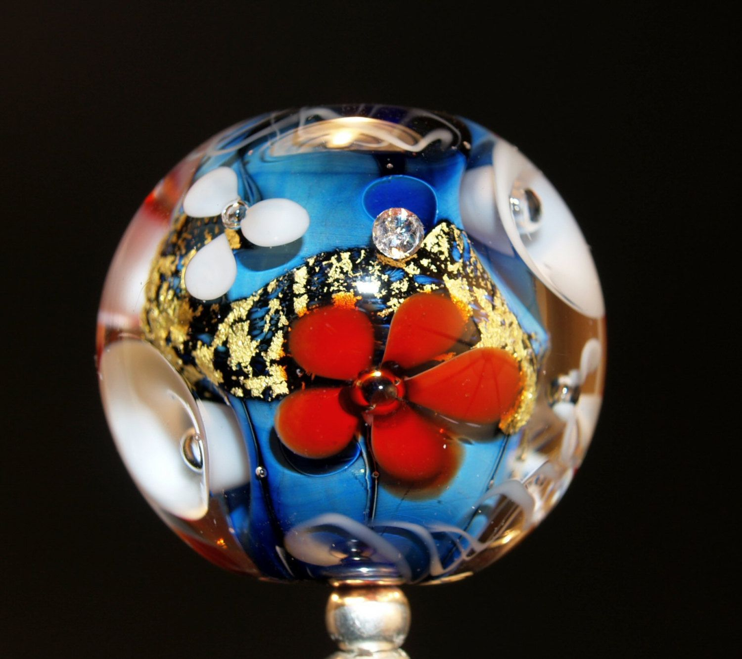 round flower bead with gold leaf and zirconia, handmade