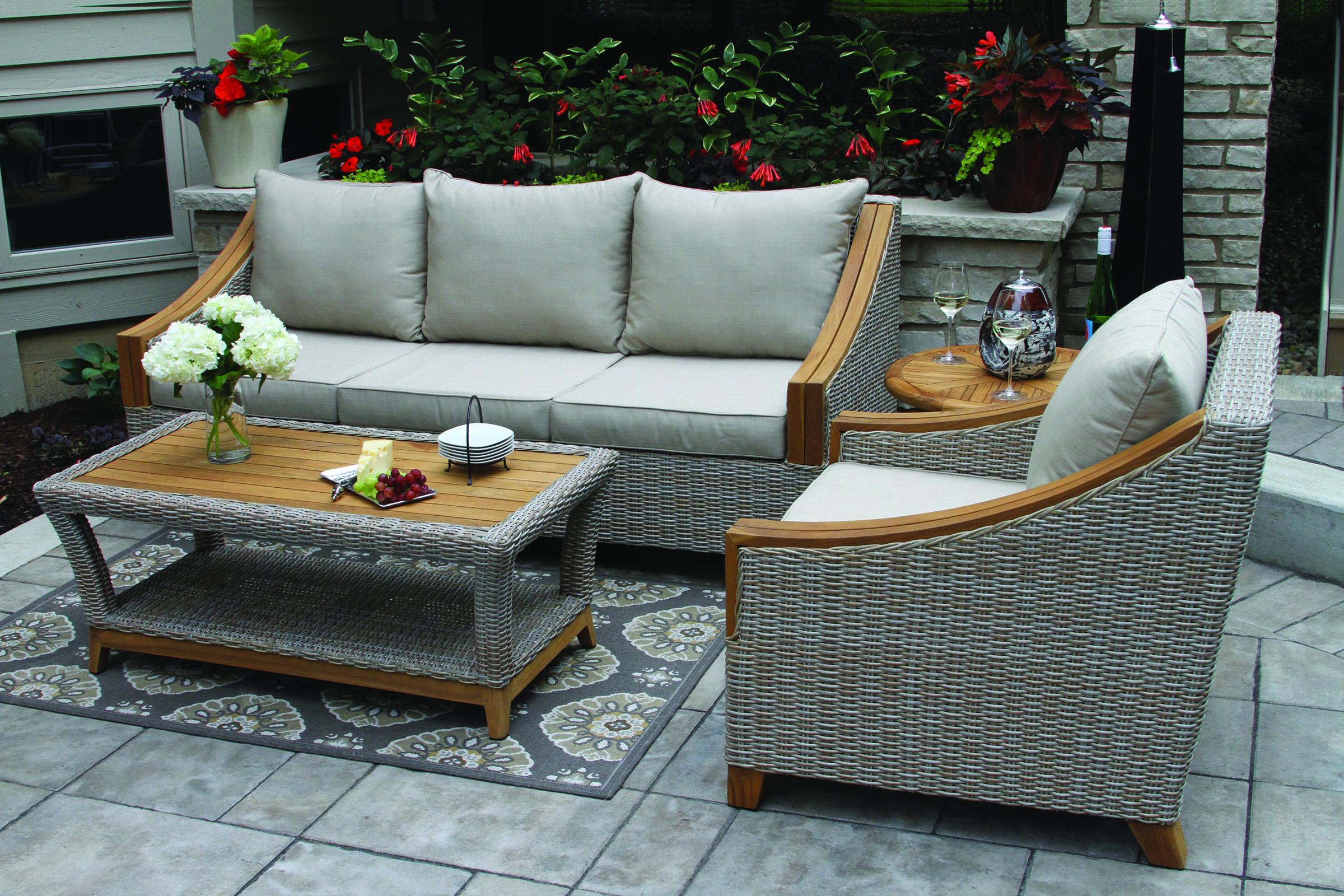 Vineyard Teak Wicker Sofa Set With Sunbrella Cushions Pillows Outdoor Wood Furniture Sunbrella Cushions Outdoor Furniture