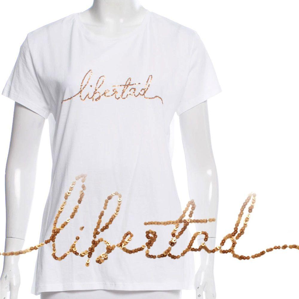 a3169e62 JOHANNA ORTIZ Libertad T-Shirt Metallic Gold Sequins Liberty White Knit Top  6 #JohannaOrtiz #TShirt #Casual