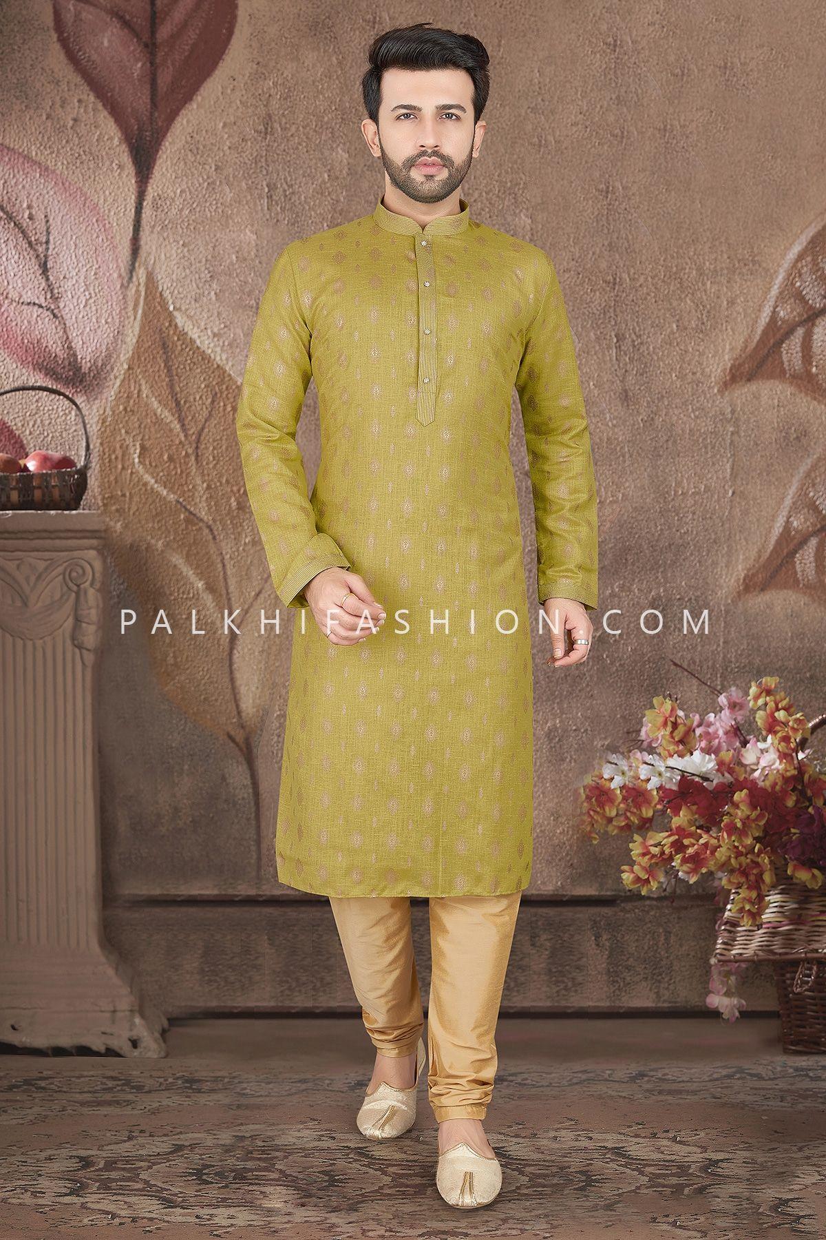 Mehndi Green Soft Silk Kurta Pajama With Embossed Work In 2021 Mehendi Outfits Daytime Wear Fashion Fabric