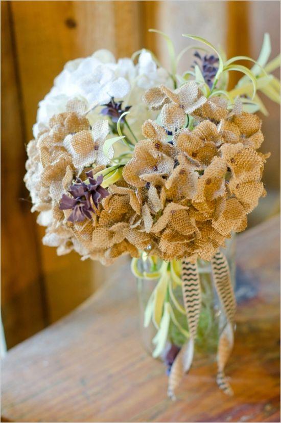 burlap flower bouquet #diyflowers www.weddingchicks...