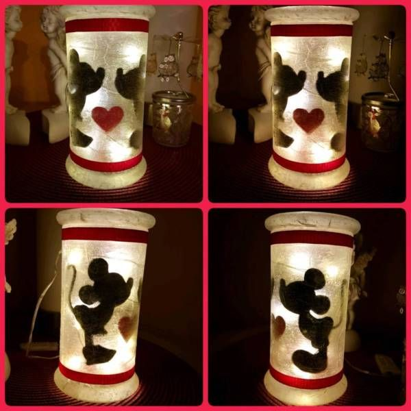 Biete ein mit viel Liebe gebasteltes Feenlicht mit Mickey und Minnie ...