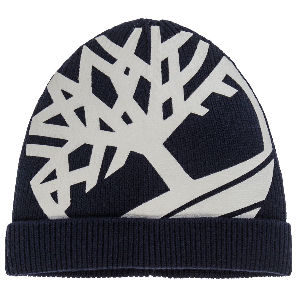 4cdf39da Boys Blue Cotton Knitted Hat for Boy by Timberland. Discover the latest  designer Hats for kids online