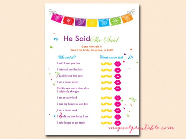 fiesta bridal shower games package luau bridal shower games bachelorette wedding shower games he said she said