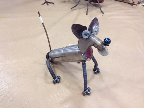 Dog Recycle Garden Sculpture thermos silver by nbillmeyer on Etsy
