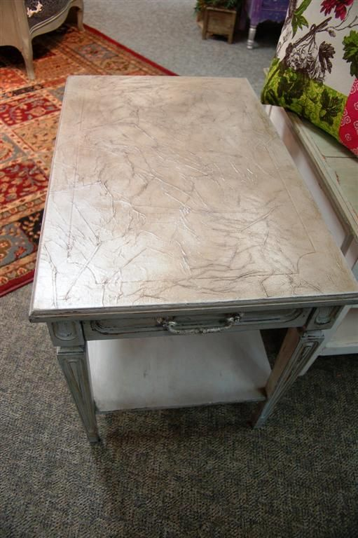 A side table I just finished - read about it here  http://fabulousfinishes.wordpress.com/2013/02/20/so-today-i-played-with-cece-caldwells-chesapeake-blue/