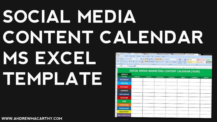 Social Media Content Calendar Template Excel  Social Marketing