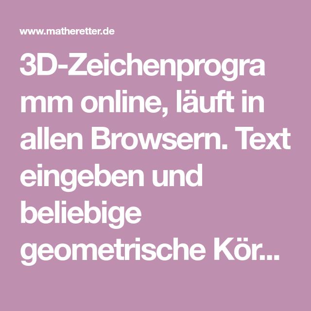 3DZeichenprogramm online, läuft in allen Browsern. Text