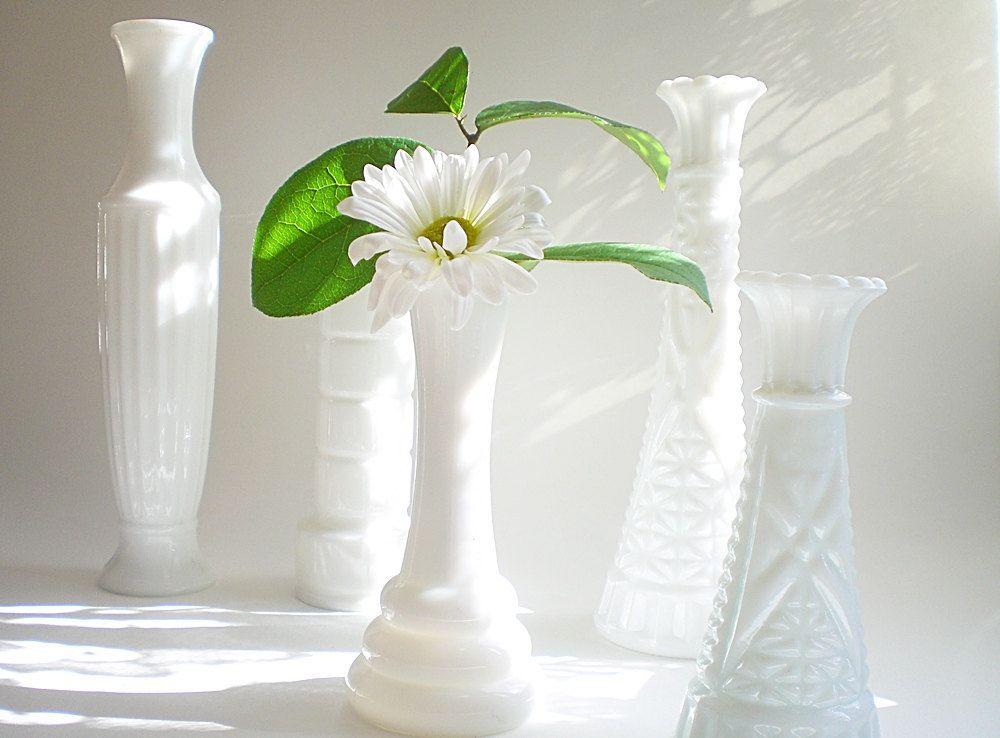 White bud vase collection, Shabby chic milk glass wedding mix. $26.00, via Etsy.