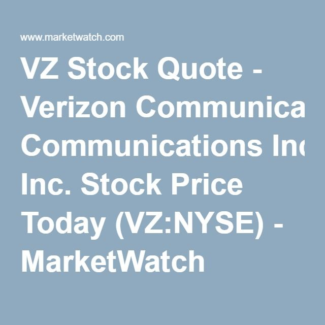 Vz Stock Quote Endearing Vz Stock Quote  Verizon Communications Incstock Price Today Vz