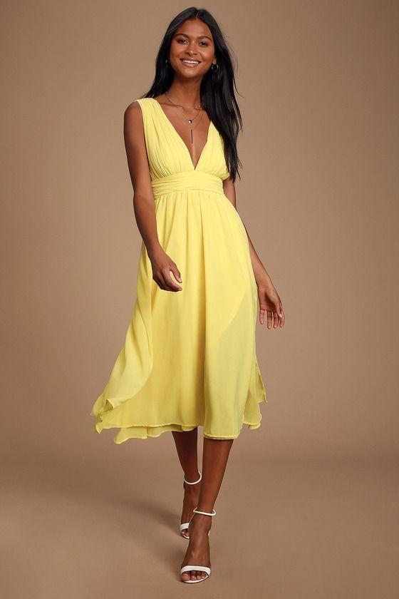 Divine Dahlia Yellow Midi Dress #cocktailattireforwomen