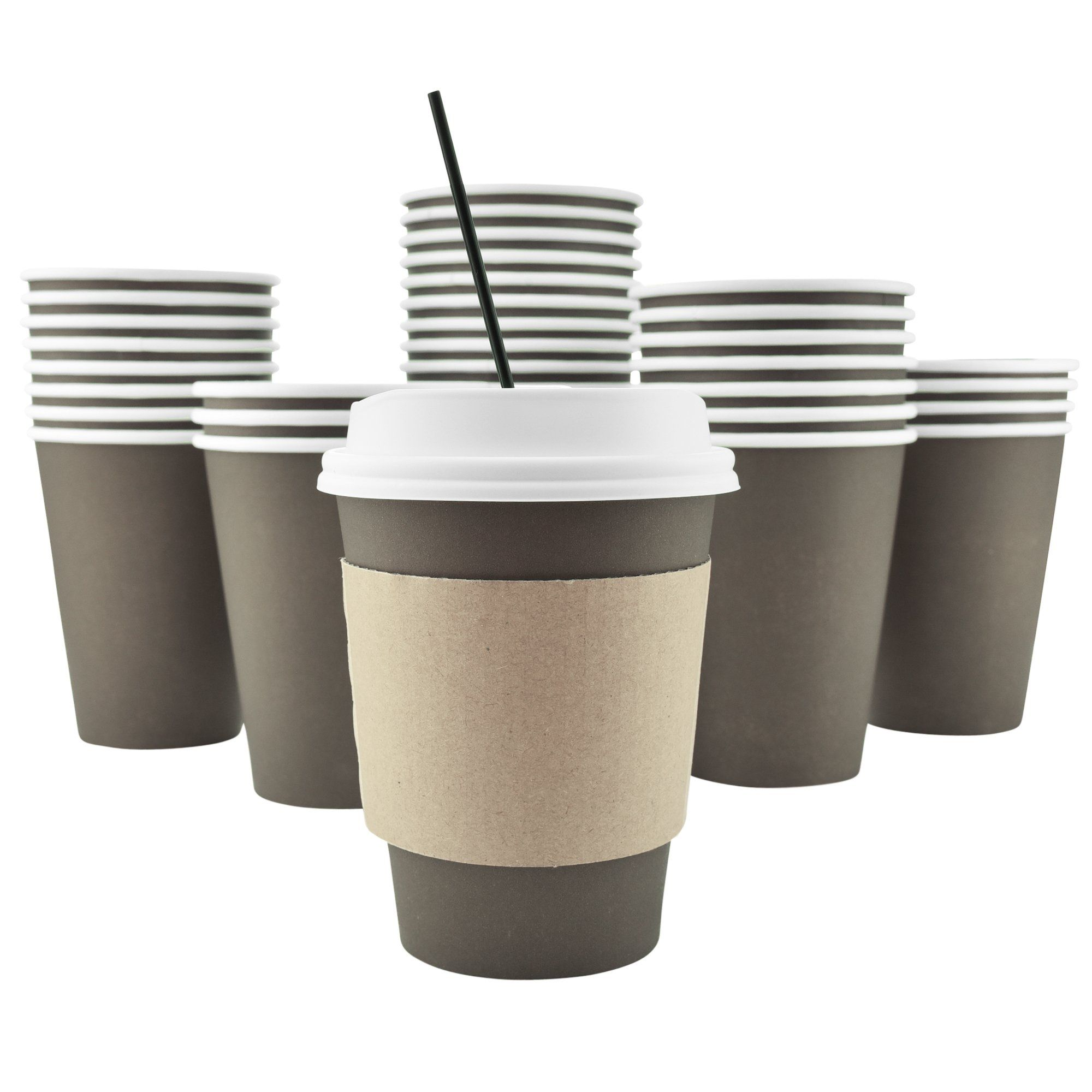 100 pack 12 oz 8 16 20 disposable hot paper coffee cups lids