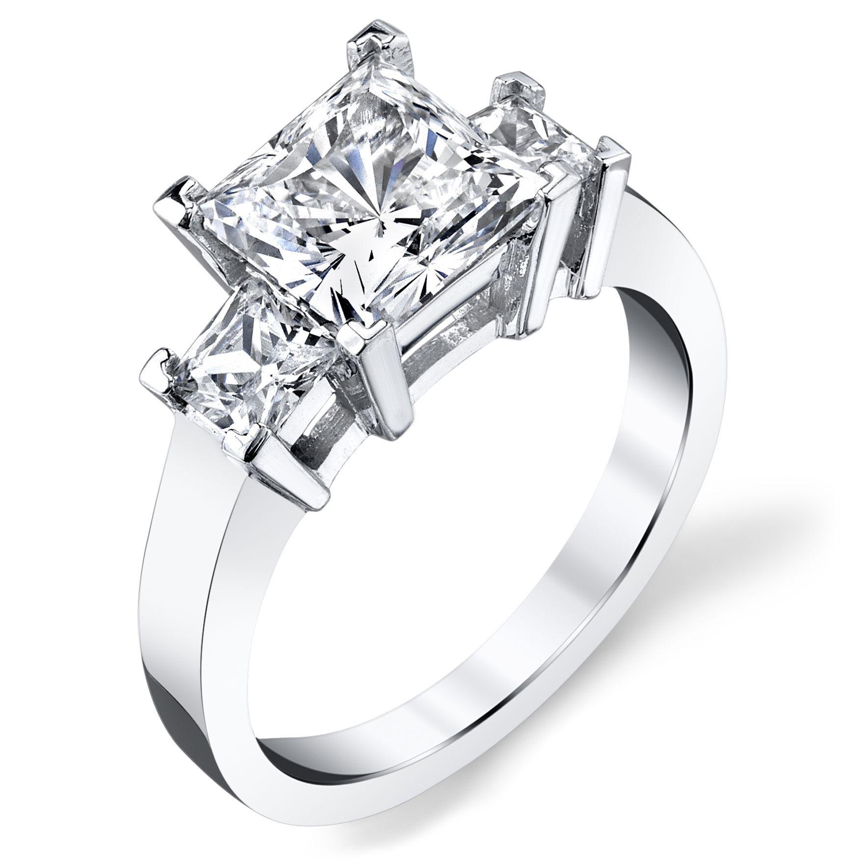 Platinum ct tdw certified princesscut stone diamond ring