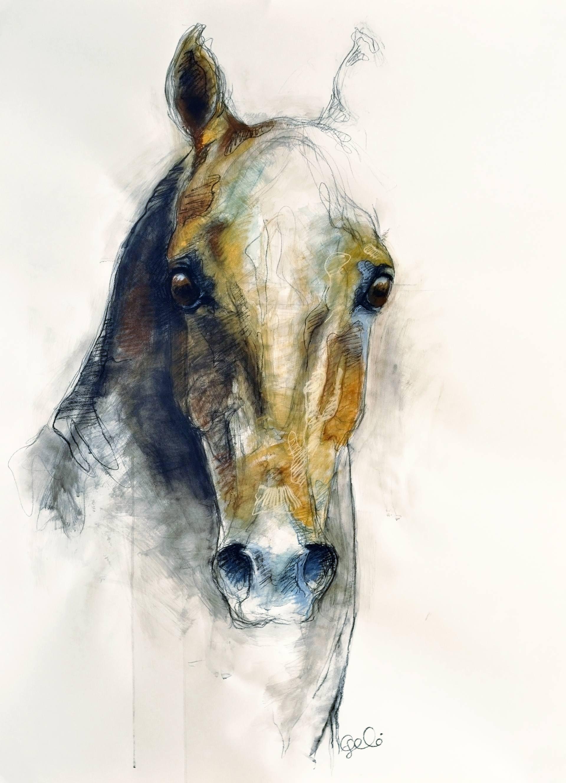 Saatchi Art Artist Benedicte Gele Pastel 2013 Drawing Alert Iv Art Saatchi Art Horse Drawings