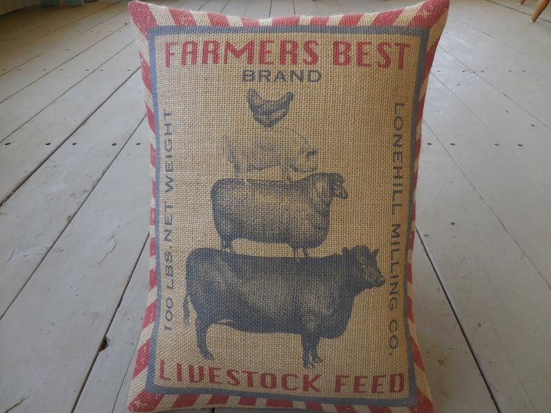 Animal Stack Burlap Pillow, Livestock Feed Label, Farmhouse Pillows, French Country, Shabby Chic, Farm79, INSERT INCLUDED