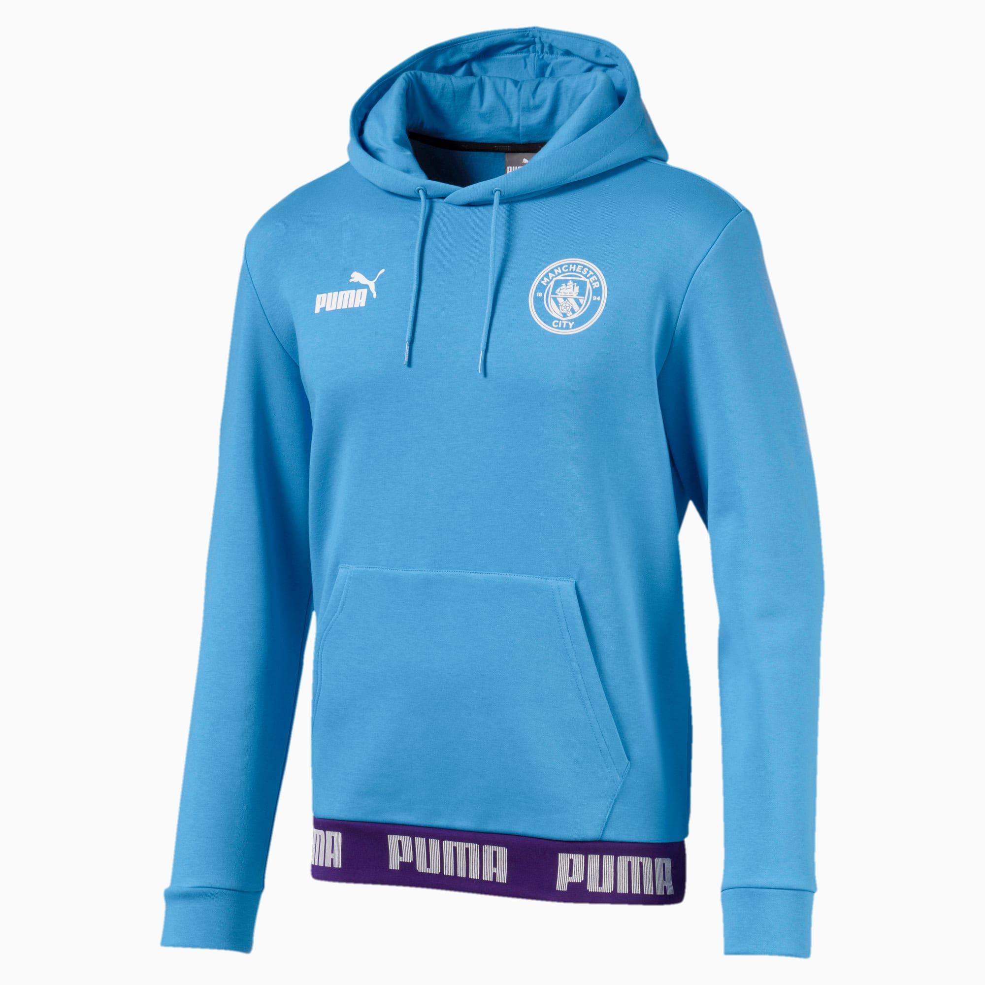 PUMA Man City Football Culture Men's Hoodie, Light Blue/White, size Large, Clothing