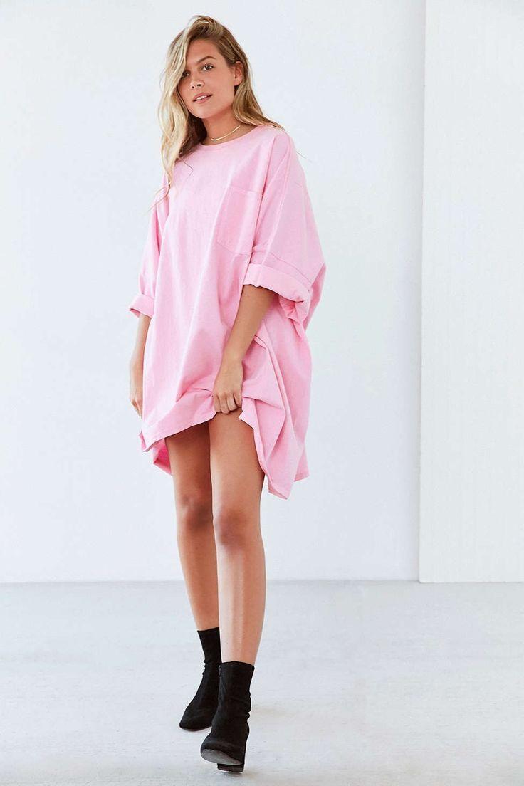 Image result for oversized pink shirt dress