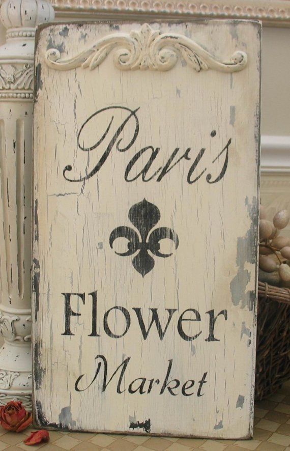 PARIS FLOWER MARKET vintage style shabby sign chipped romantic white French
