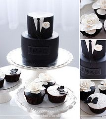 Gucci black tux cake & Black and white cupcakes.