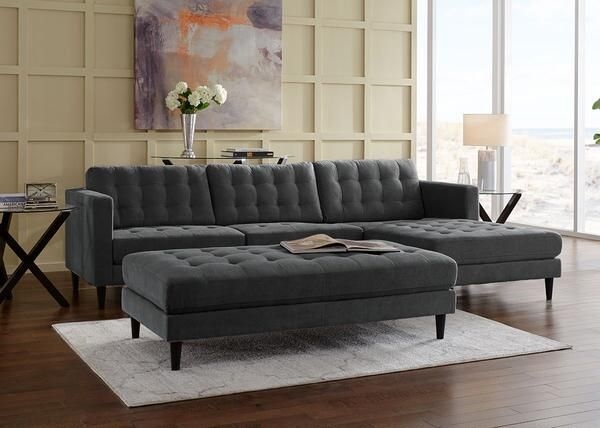 Swell Sydney 2Pc Sectional Sydney Charcoal Was 769 98 Sale Machost Co Dining Chair Design Ideas Machostcouk