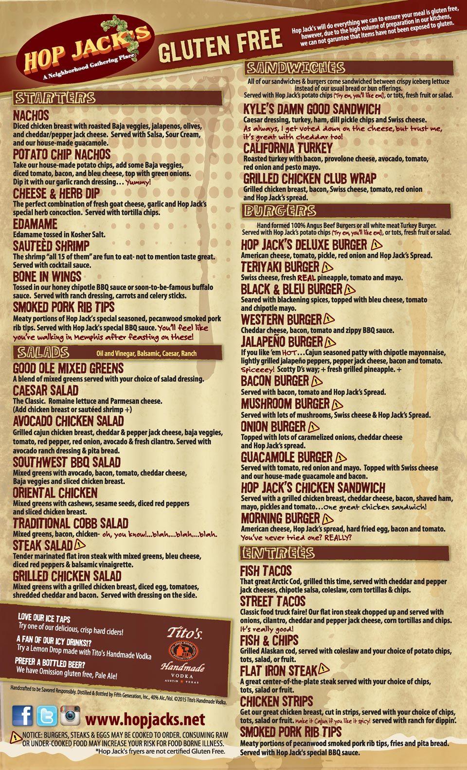 hop-jacks-gluten-free-menu   Gluten Free Restraunt   Pinterest ...