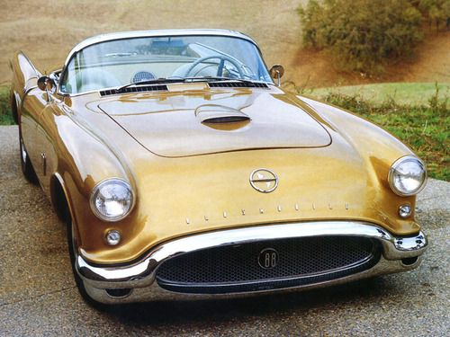 1954 Oldsmobile F-88. A fiberglass dream car built on the Corvette chassis, sharing the Corvette's 102 inch wheelbase. The car used a 324 cubic inch (5.3 liter) Super 88 V8 engine with a four-barrel carburetor with a small, flat air cleaner. The Corvette-derived rear axle had a ratio of 3.55:1. The console was modified from the 1953 Oldsmobile console with a tachometer added and customizing the facia of the gages. The instrument panel of the F-88 was later used on a Cutlass.