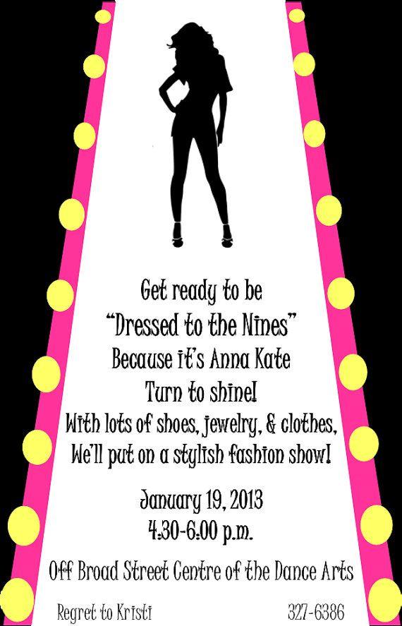 Fashion Show Birthday Party Invitation Black by GoddessOfGraphics ...