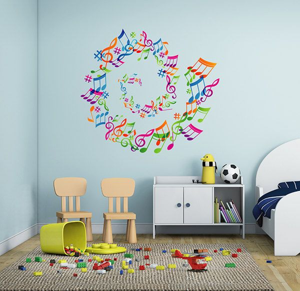 Kcik290 Full Color Wall Decal Treble Clef Music Notes Bedroom Living Room Wall Decals Wall Decor Stickers Wall