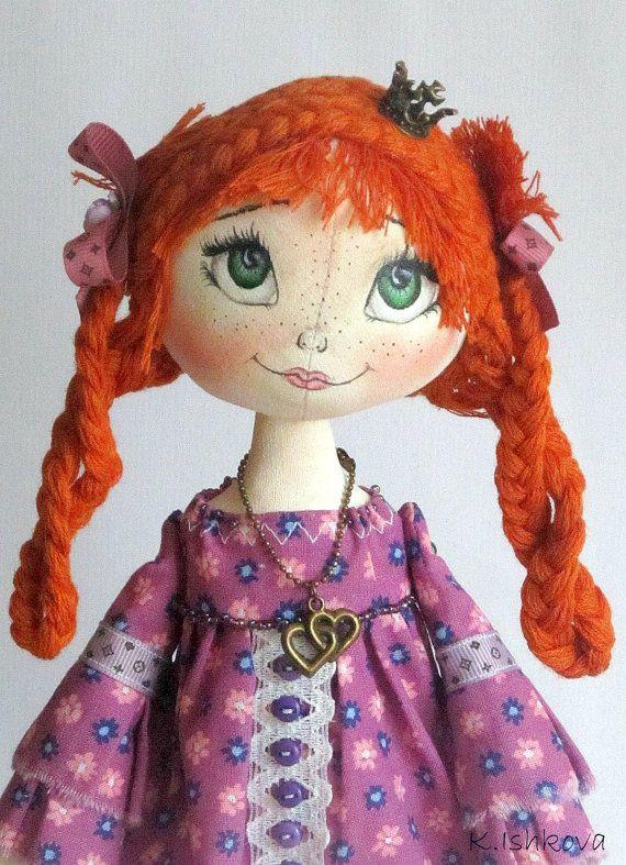 Textile Art Cloth doll My Little Princess by ArtDollsByKseniya. , via Etsy.