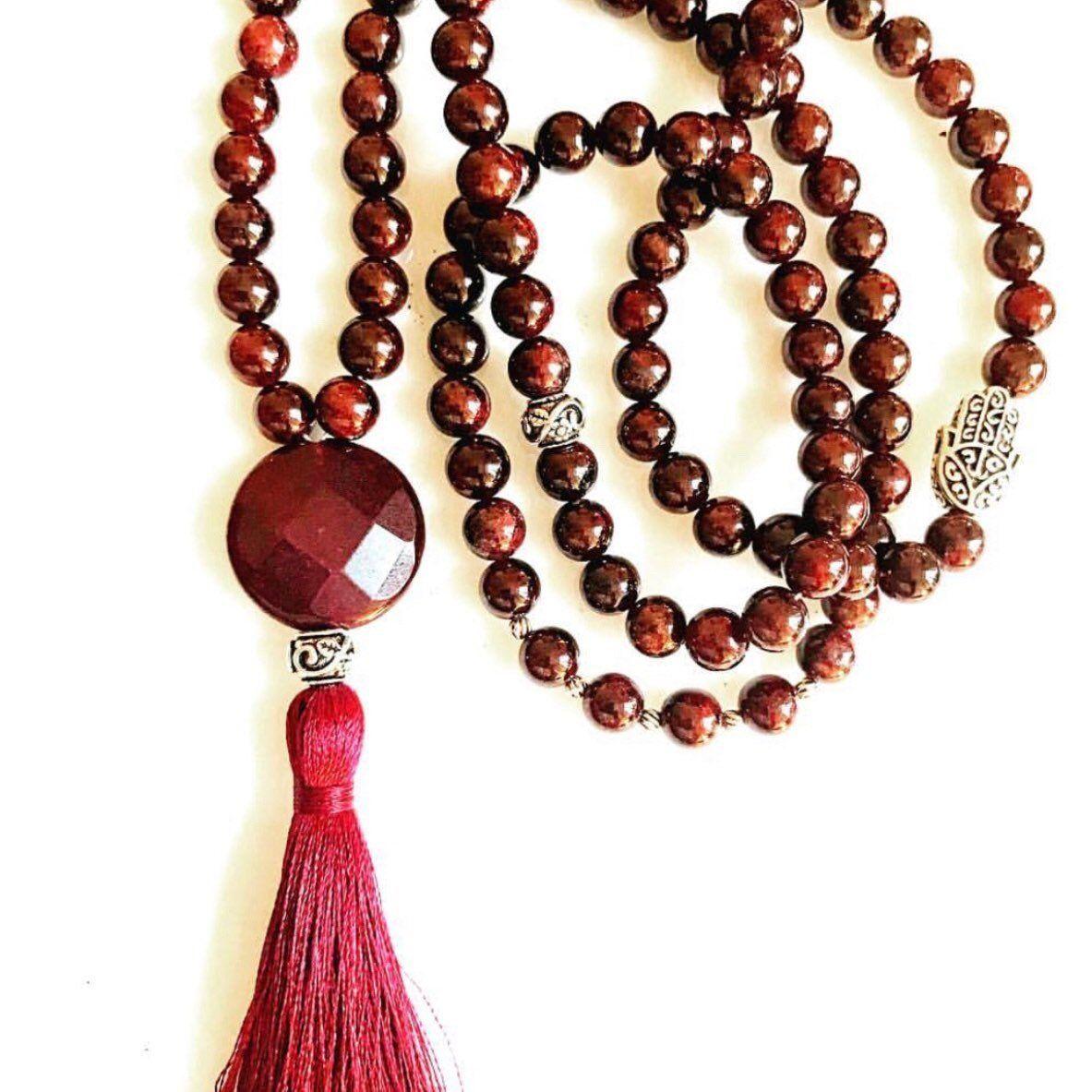 Carnelian Mala  Tassel Necklace  108 Mala Bead  Mala Bead  Mala Wood Necklace  Prayer Bead Necklace  Yoga Jewelry  Gift for Her