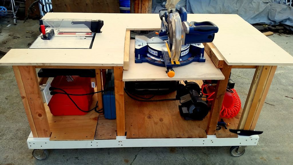Workbench with table saw and miter saw chest torch