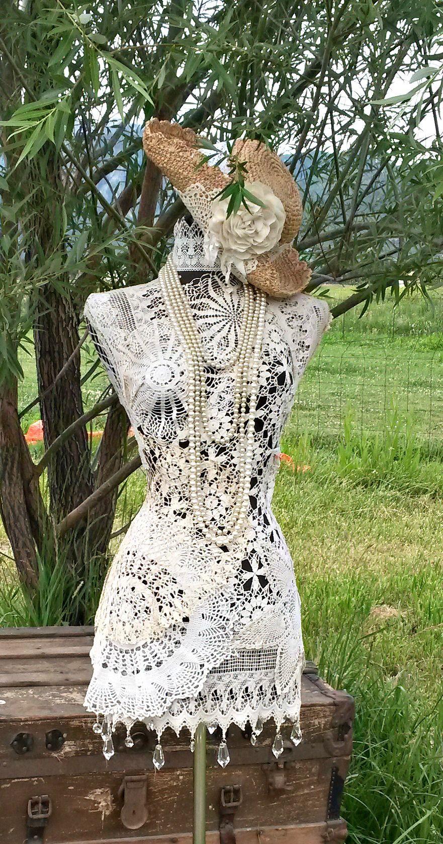 Country dazzle doilies dressform vintage dress form