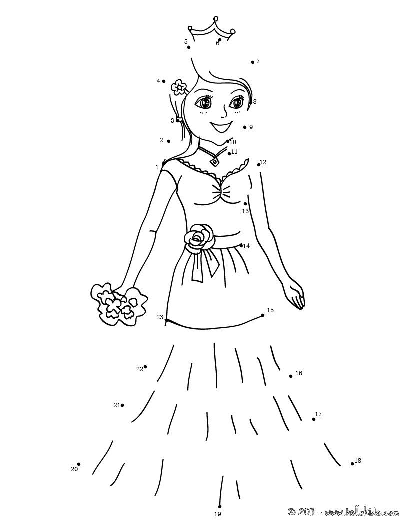 Princess dot to dot game printable
