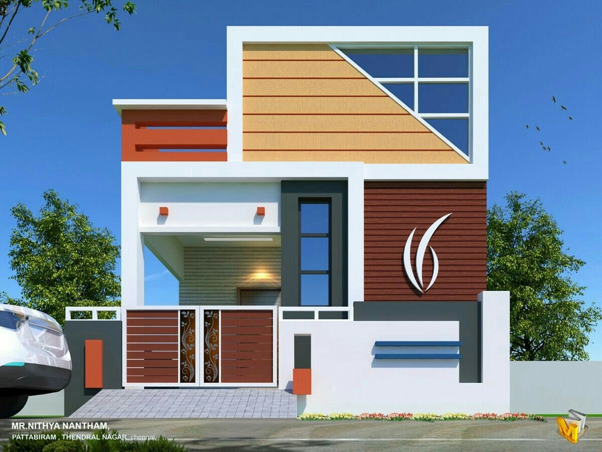 East face elevation Harish Infra Developers | Small house ...