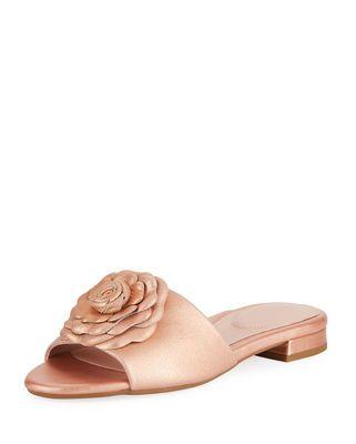 fe99a6062971 Taryn Rose Violet Flat Floral Metallic Leather Slide Sandal ...