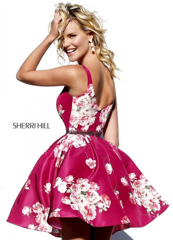 40ef0d7b7e9 Unleash your vivacious side in the irrepressibly lively Sherri Hill 32321  short dress. This gorgeous gown is fashioned in a vibrant taffeta floral  print.