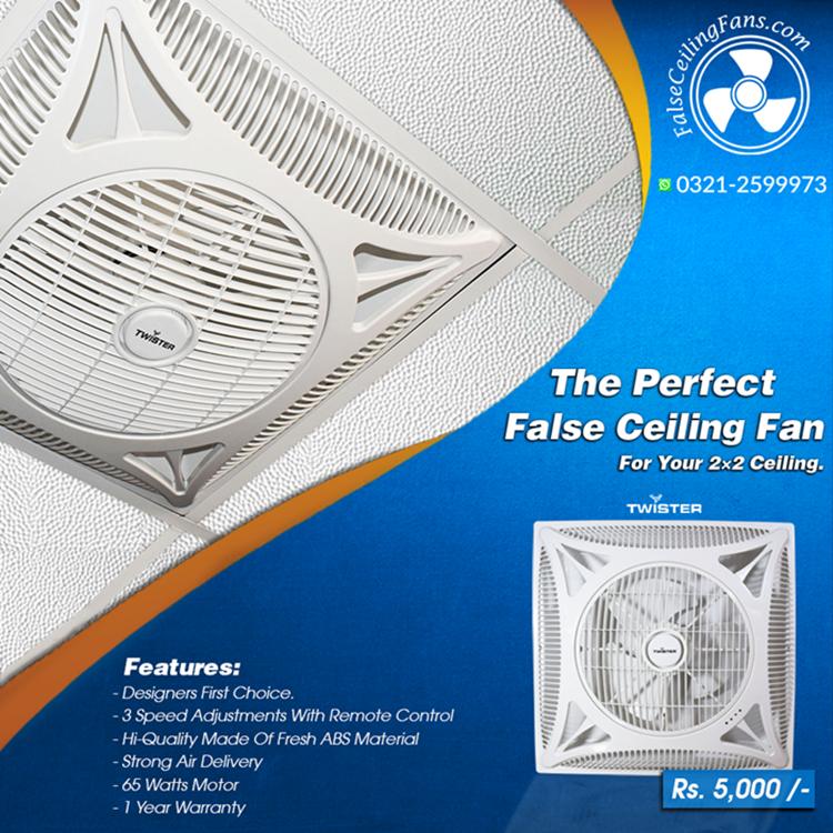 Twister Brand 2x2 False Ceiling Fan White Color False Ceiling
