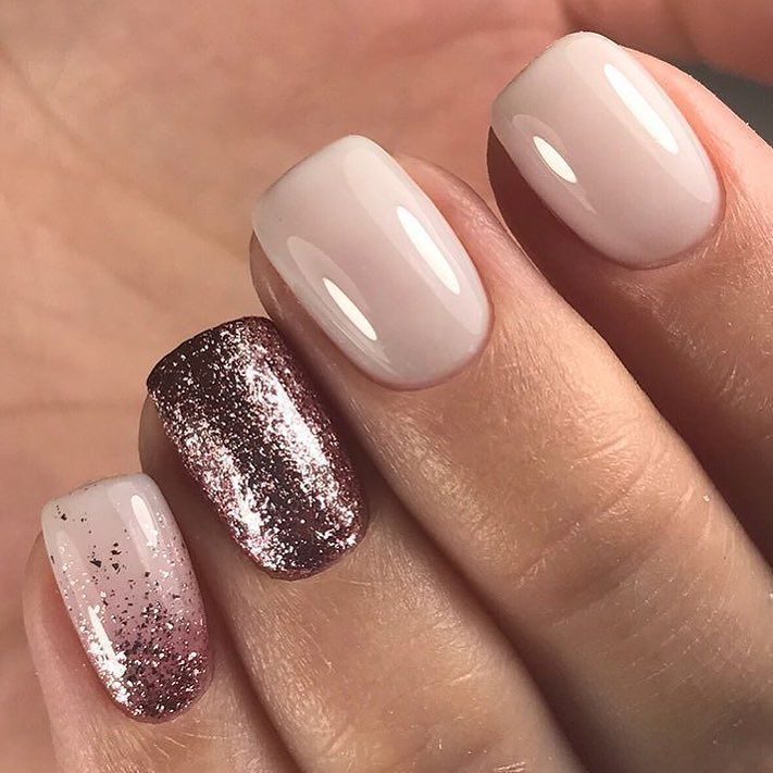 Nude nails, sparkle accent nail, pinky finger with ombré & more ...