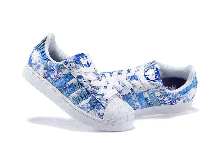 size 40 1a064 bd652 adidas originals superstar womens shell flower print white blue