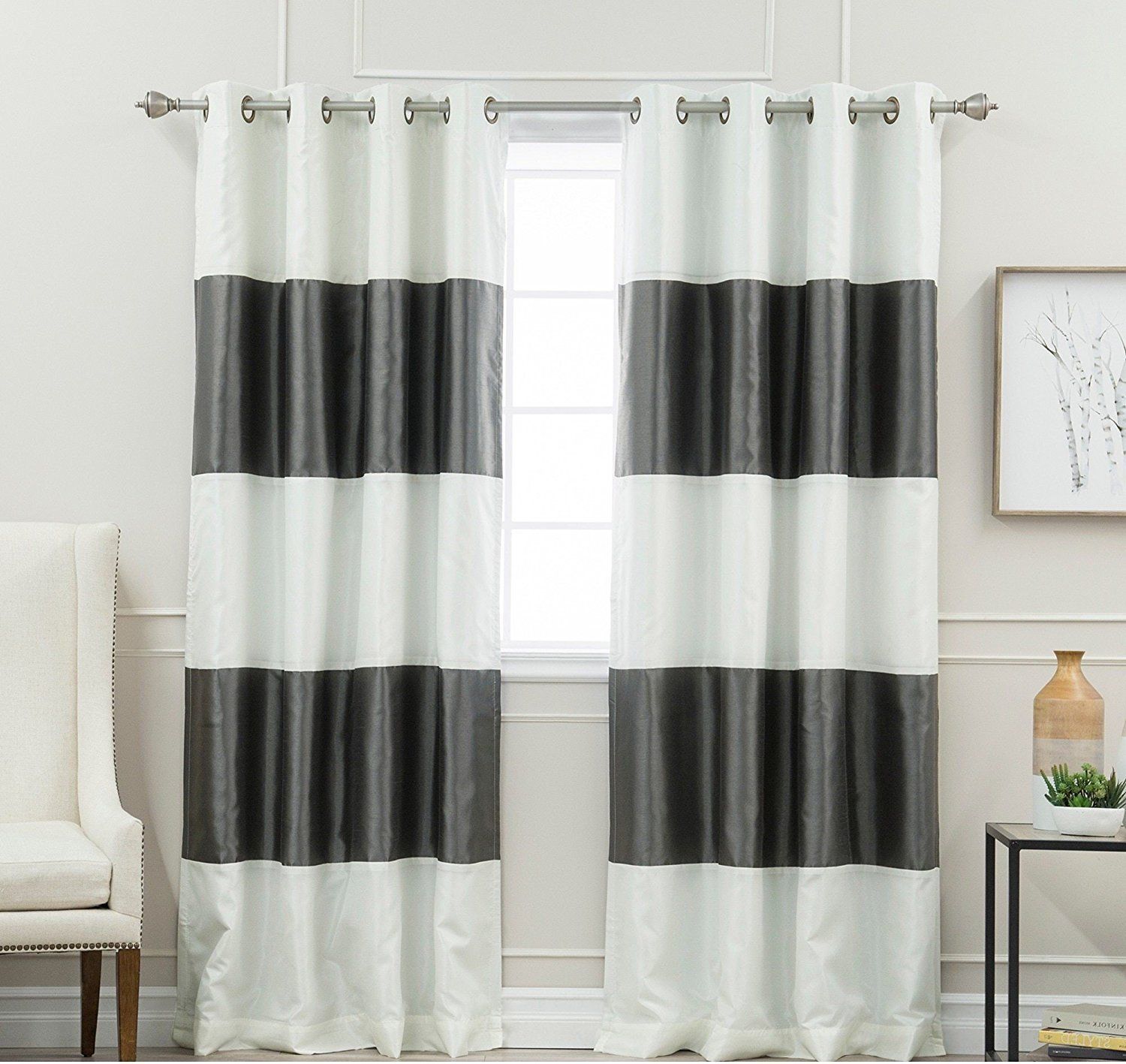 curtains striped light curtain gray cheap grey blue yellow