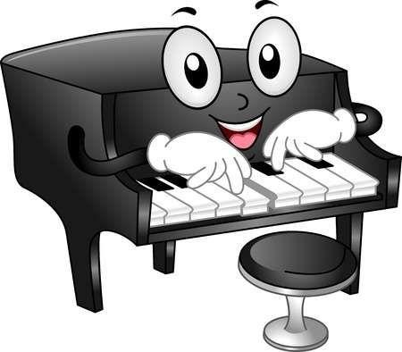 Ilustraci n de la mascota del piano de cola con el for Taburete para tocar guitarra