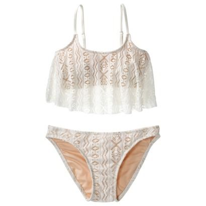 Xhilaration 174 Junior S Crochet 2 Piece Swimsuit Ivory
