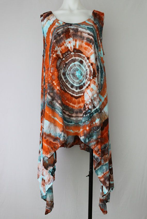 Tie dye asymmetric sleeveless tunic ice dyed  by ASPOONFULOFCOLORS